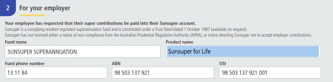 Sunsuper Employer Super Payment Details